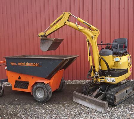 Havemaskine sæt til udlejning minigraver og motorbøre